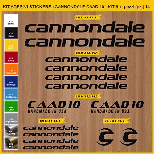 Pimastickerslab Aufkleber Fahrrad CANNONDALE CAAD 10 - KIT6 -Kit Aufkleber Stickers 14 Stück – bici Bike Cycle wählbar Cod.0919 (070 NERO)