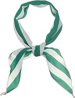 Allegra K Women Satin Triangle Neck Scarf Stripe Print Hair Wrap for Ladies Handbag Accessory Bandana