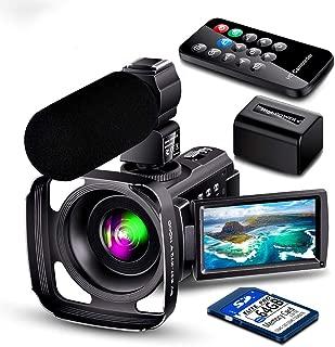 ビデオカメラ 4200万全画素 30FPS HDR 充電式マイク レンズフード ウェブカメラ用 ビデオ通話 16倍デジタルズーム IR夜視機能 64Gカード付け