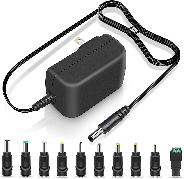 PERFEIDY 14V 1A 0.8A 0.5A Charger 14.0V 1.0A AC Adapter 14W Switching Power Supply DC 14Volt 1000mA 800mA 600mA 500mA Adaptor Regulated Transformer Cord with 10 Interchangeable Jacks UL Listed Plug