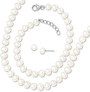 Sterling Silver 6-7mm Freshwater Cultured Pearl 18/2inch Neck 7/1in Bracelet Earrings Set