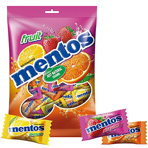 Mentos Pillowpack Fruit Dragees, 500g Beutel Kau-Bonbons, Frucht Geschmack mit Orange + Zitrone + Erdbeere