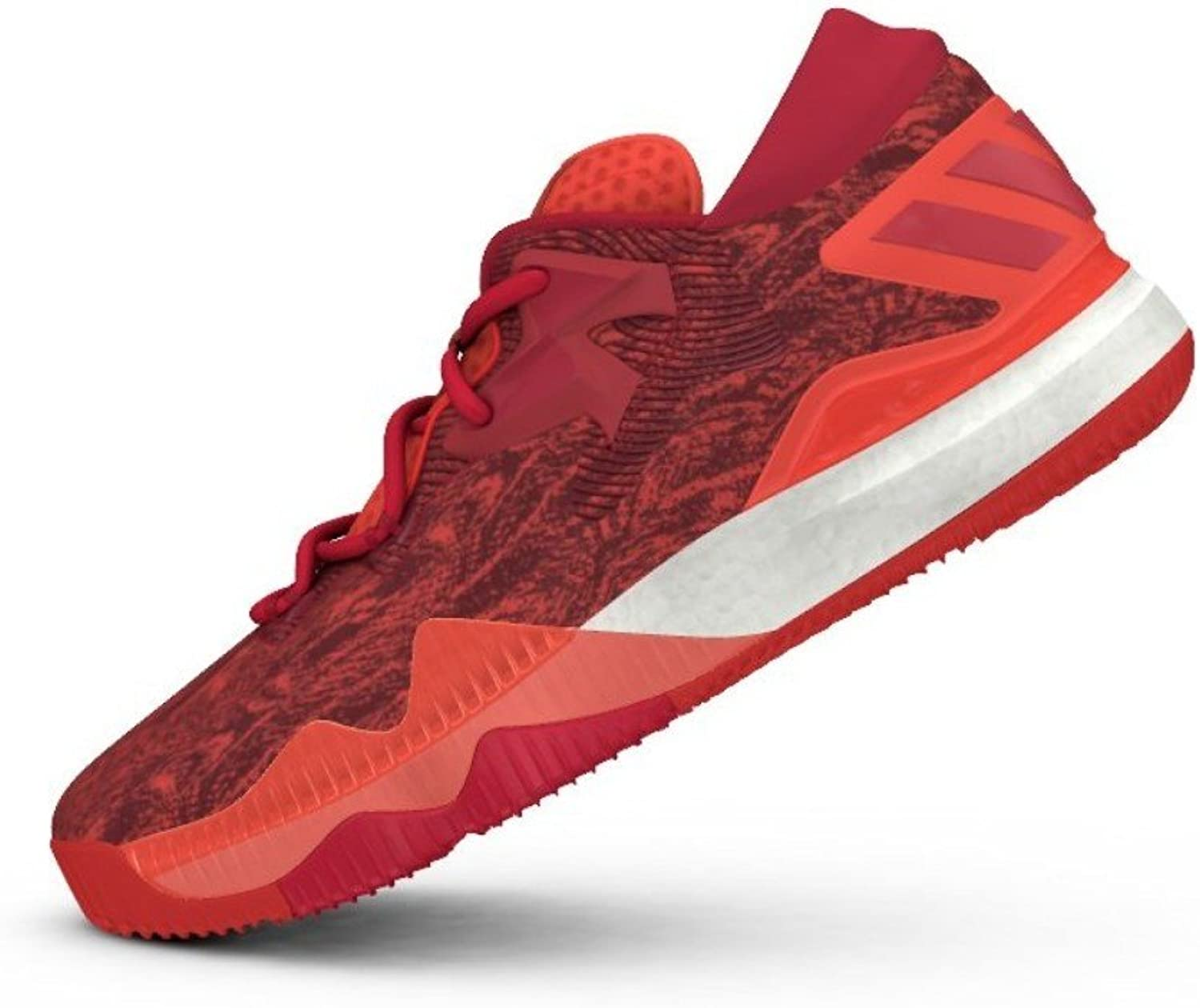 Adidas Mens Crazylight Boost Low 2016 Solar Red White Lace up Basketball shoes