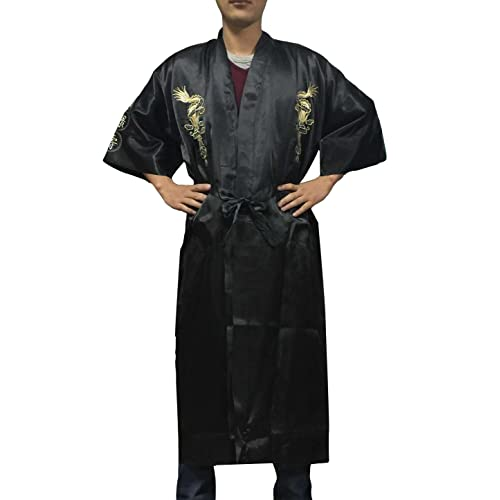 4ae09f1348 YL Men s Chinese Gold Dragon Luckieness Embroidery Night Robe Bathrobe  Pyjamas 5 Colours