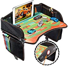 Coolmum Kids Travel Tray, Toddler Car Seat Tray, Activity Organizer, Snack Lap Tray, Baby Stroller Tray, Airplane Play Table, Waterproof and Foldable (Premium Black)