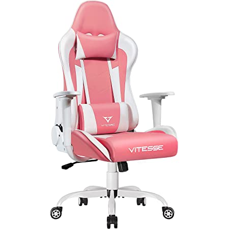 PUKAMI Pink Gaming Chair Cute Kawaii Gaming Chair for Girl Ergonomic Office Desk Chair Racing Office Chair Adjustable High Back Chair Game Chair Swivel Leather Chair with Lumbar Support and Headrest