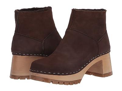 Swedish Hasbeens Slip-On Bootie (Brown Shearling/Chocolate Nubuck) Women