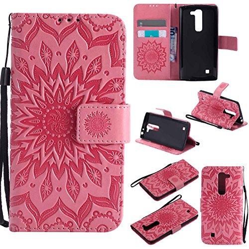 pinlu® PU Leder Tasche Etui Schutzhülle für LG G4c(5zoll)/LG Magna Lederhülle Schale Flip Cover Tasche mit Standfunktion Sonnenblume Muster Hülle (Rosa)
