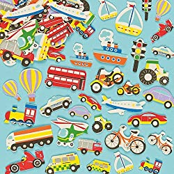 Transport Themed Self-Adhesive Foam Stickers Shapes for Kids (Pack of 108)