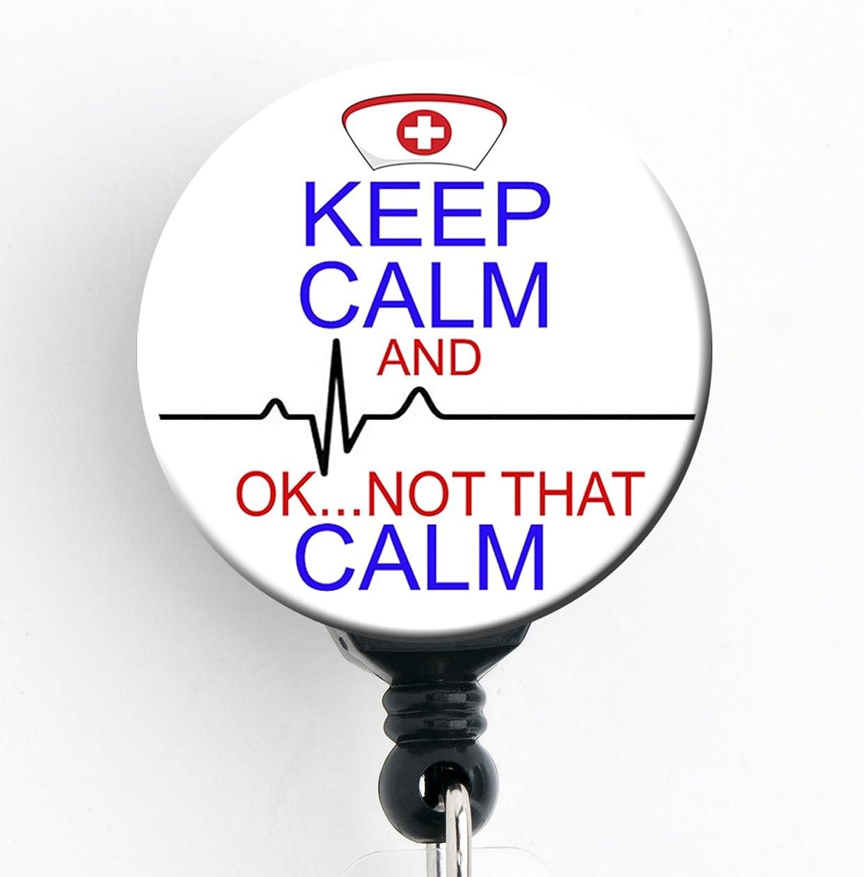 ご飯パット証明書Keep Calm and。。。OK Not That Calm?–?格納式バッジリールwith回転クリップとextra-long 34インチコード?–?バッジホルダー