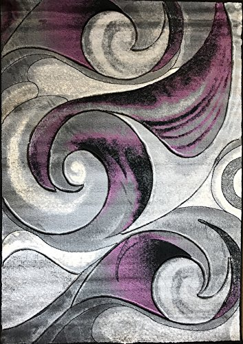 Contemporary Violet and Grey Polypropylene Floor Mat