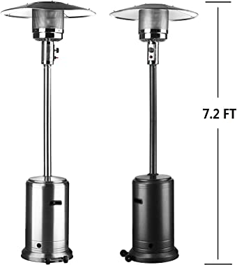 Leisurelife Outdoor Patio Heater with Wheels, Propane, Auto Lgnition, 46000 btu, Stainless Steel Burner, 7.2ft