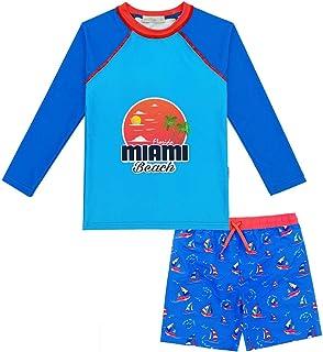 weVSwe Boys 2 Piece UPF 50+ Swimsuit Set with Long Sleeve Rash Guard Sun Shirt and Print Miami Sunshine Boardshorts Beach Swimwear 4T