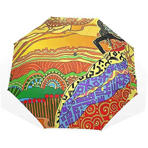 Emiuly Automatischer faltender Auto Regenschirm, Schattenbild eines schönen afrikanischen Frauen-winddichten Ultra Hellen UVschutzes