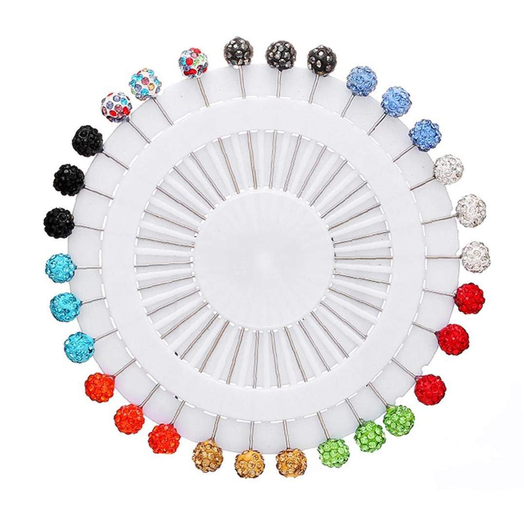 12x Round Pearl Snag Free Safety Craft Dressmaking Hijab Scarf Tailor Pins Wheel