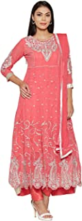 Florence Women's Peach Georgette Embroidered Salwar Suit(SB-3409-Aug2019,FREE SIZE)