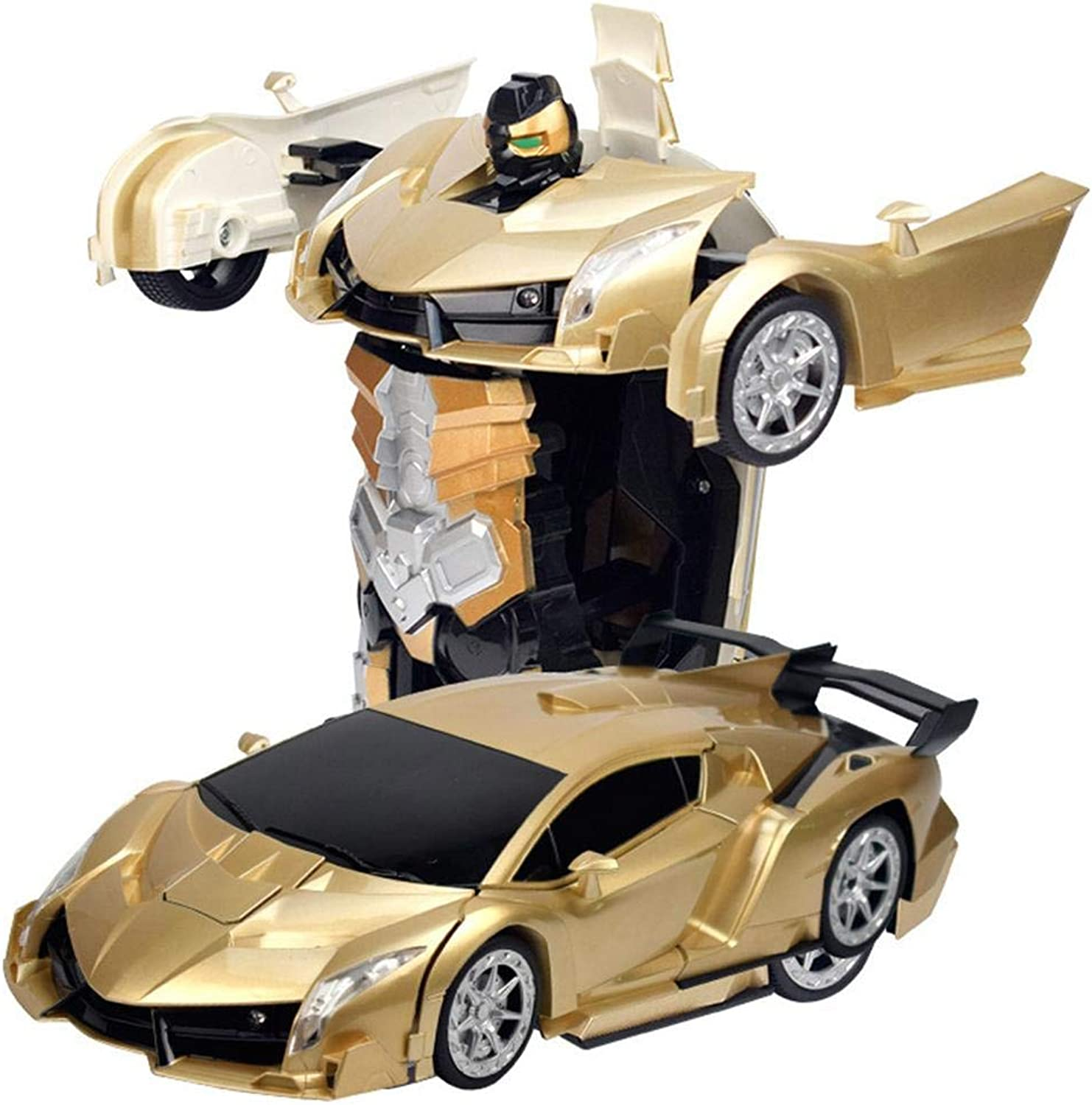 Coaste 1 12 Deformed Vehicle Remote Control Vehicle,Transform Car Robot Toy,One Button Transformation,Two color to Choose(gold and pink gold),for Kids and Toddlers.