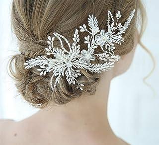 FXmimior - Fermaglio per capelli fatto a mano, per matrimonio, matrimonio, festa, sera, accessorio per capelli