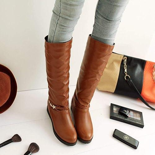 Fuxitoggo Bottes pour Les Les dames - Bottes Chaudes pour Les Les dames, Tubes Chauds Bottes de Chevalier Bottes de Tenue décontractée Grande Taille Chaussures pour Femmes 36-43 (Couleuré   Jaune, Taille   39)