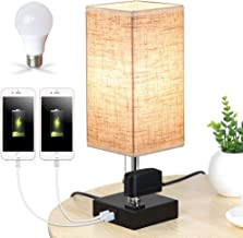 Lifeholder Table Lamp, Nightstand Lamp Built in Dual USB Charging Port & One Power Outlet, Black Iron Base USB Lamp with W...