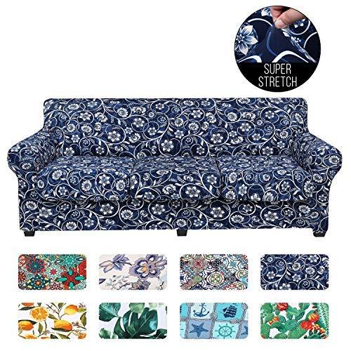 Funda elástica para sofá impresa, diseño floral, 4 piezas, protector de muebles lavable con correa elástica para sofá de 3 cojines (sofá, barroco)