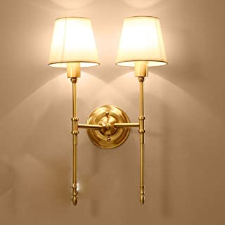 MX Light Fixture Wall Lamp American Full Copper Bedroom Corridor Single Double Head Design (Fabric Shade) Warm Light Energ...