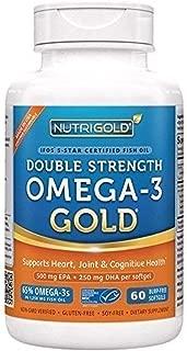 NutriGold Double Strength Omega-3 Gold (750 mg Omega-3s as EE per Softgel) - 1,250 mg (60 Burp-Free Softgels)
