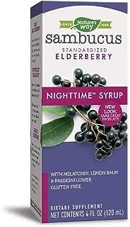Nature's Way Sambucus Nighttime Standardized Elderberry Syrup + Melatonin & Herbs for Restful Sleep, 4 fl. oz. (Packaging May Vary)