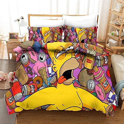 The Simpsons Family - Set di biancheria da letto con copripiumino e federa, motivo anime 3D, per ragazze, ragazzi, decorazione per la casa