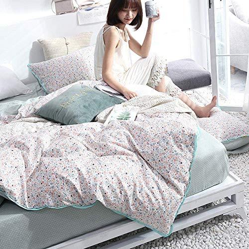 NundU Gesteppte Bettdecke 4 Stück Set Twill Druck Tagesdecke Unsichtbarer Reißverschluss Tagesdecke Eingefädelte Kanten Bettwäsche Baumwolle Kissenbezug Bettwäsche-D-2/2.2m