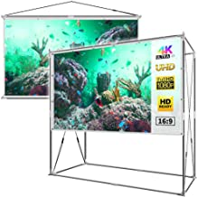 JaeilPLM 120-Inch 2-in-1 Portable Projector Screen, Outdoor Indoor Compatible with Rectangle Stand or Hanging Design Movie Projection for Home Theater, Gaming, Office(SQ120)