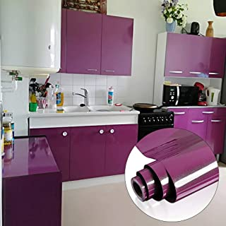 Yenhome 60cm x 5m Glossy Purple Vinyl Contact Paper for Cabinets Cover Peel and Stick Wallpaper for Furniture Wardrobe Self Adhesive Drawer and Shelf Liner for Kitchen Cabinet
