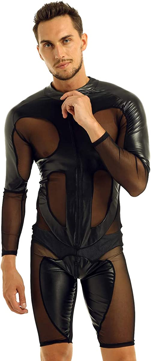Directly managed store Aiihoo Men's Faux Max 87% OFF Leather Mesh Bodysuit Splice Leotard Slee Long