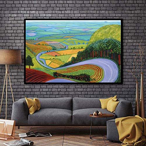 wZUN Arte en Lienzo para Sala de Estar y Dormitorio con Pintura al óleo impresión de Pintura al óleo Abstracta 60x120 Sin Marco
