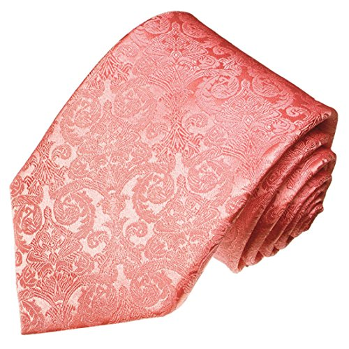 Lorenzo Cana - Luxus Krawatte aus 100{c91968b0cf819e3ff89070586b4daa7736c539cf984a7cc5719d53ebb2803527} Seide - handgefertigte Markenqualität - rose rosa Barock Muster - 25025