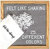 Felt Letter Board, 10x10in Changeable Letter Board with Letters White 300 Piece - Felt Message Board, Oak Frame Wooden Letter Board for Baby Announcements, Milestones, Office Decor & More (Gray)