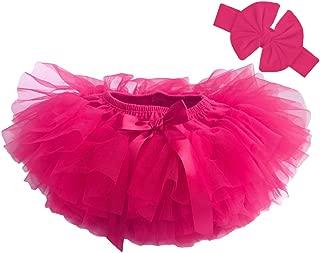 Baby Tutu Diaper Cover - Girls Cotton Skorts Headband Set Ages 6-24 mo