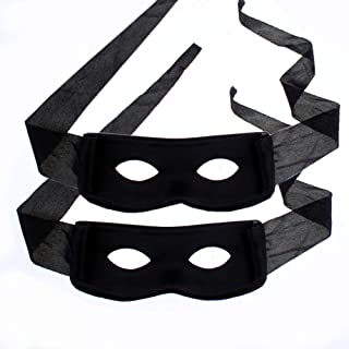 2Pcs Black Masquerade Halloween Mask Performance Eye Mask Fancy Dress Black Bandit Thief Mask for Highwayman Robber Cosplay Costume Accessories