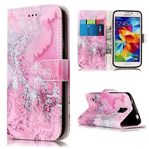 pinlu® Custodia per Samsung Galaxy S5 i9600 retrò Marmo PU Pelle Magnetico Flip Cover con Appoggio Funzione Slot per Scheda Disegno Antiurto Marbling Mare Rosa