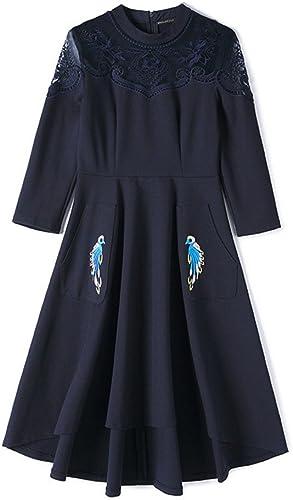 Nfgumnos Les Femmes européennes d'hiver élégante Robe Longue irrégulière Gaze épaule,Bleu,XL