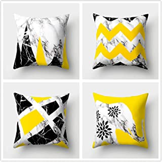 Jingle Pack of 4 Marble Throw Pillow Cover Anchor Elephant on Wave Zigzag Stripe with Flower Cushion Covers Simple Splicing Patterns Fashion Element Pillow Case for Home Decor