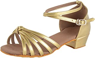 ZEVONDA Summer Girls Latin Dance Shoes with Satin Material Soft-Soled Shoes