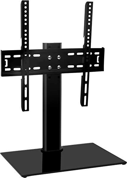 Universal TV Stand Base TableTop TV Stand For 26 To 55 Inch TVs Height Adjustable TV Base Stand With Tempered Glass Base Wire Management Holds Up To 88lbs VESA 400x400mm Max By HY Bracket HY4001