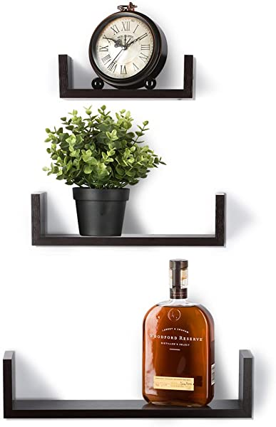 Floating Shelves Set Of 3 Wall Shelves Espresso Finish Wooden Shelves By Saganizer