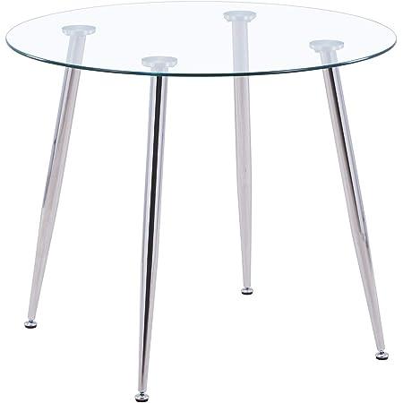 GOLDFAN Ronde Table de Salle à Manger Moderne Table à Manger Cuisine en Verre et Argenté Pieds en Métal Diamètre 80cm