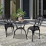 Conjunto Muebles de Jardín de Aluminio de 3 Piezas con Diseño de Mariposa - Juego de Muebles de Patio para Todo Clima con Orificio para Sombrilla - Conjunto Mesa y Sillas Terraza Muebles de Jardín