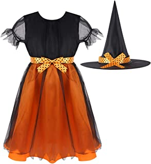 QinCiao Kids Girls Malificent Witch Costume Outfits Halloween Cosplay Party Tutu Dress with Pointed Hat Festival Suit