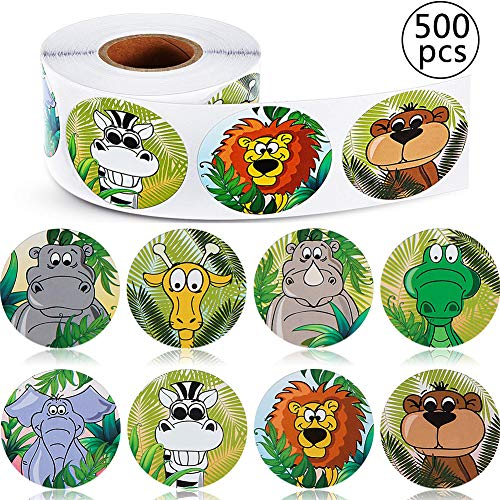 BETOY Tier Aufkleber, 500 Stücke Cartoon Aufkleber Zoo Tier Rolle Aufkleber Cartoon Handarbeit Selbstklebende Label Tierform Wandtattoos für Kinder Party Favors Geschenken, 8 Stil