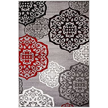 NEW Summit Elite S 53 Moroccan Madallions Gray White Black Red Modern Abstract Area rug (4x5 Actual Size Is 3'.8''x 5')