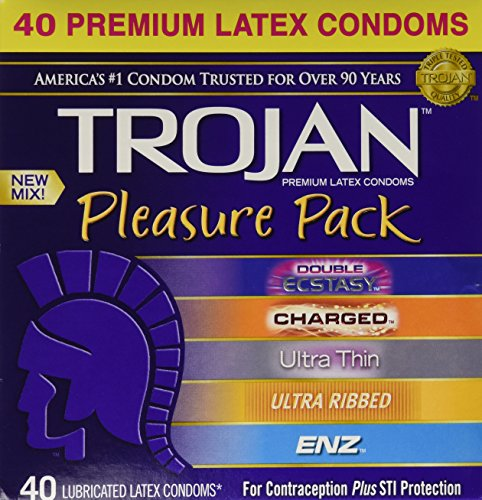 Trojan Pleasure Pack Lubricated Condoms Variety Pack (80 Condoms)